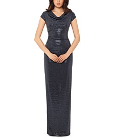 Cowlneck Open-Back Sequinned Gown