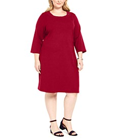 Plus Size Cotton 3/4-Sleeve Dress, Created for Macy's