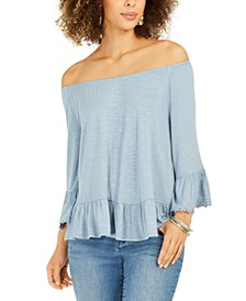 Off-The-Shoulder Bell-Sleeve Top, Created for Macy's