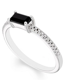 Black Onyx (6 mm x 3 mm) Diamond Accent Ring in Sterling Silver