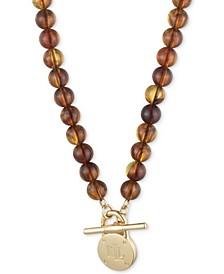 "Gold-Tone Padlock Tortoise-Look Beaded 16"" Collar Necklace"