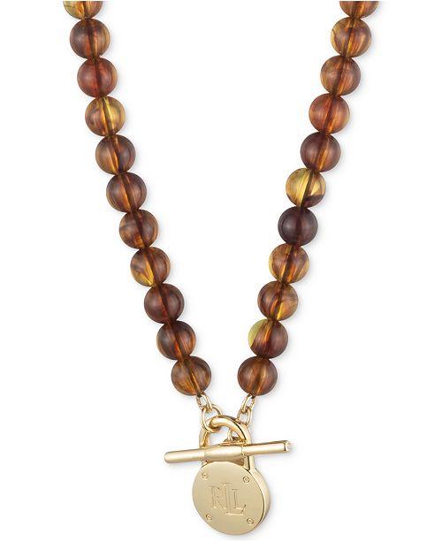 """Lauren Ralph Lauren Gold-Tone Padlock Tortoise-Look Beaded 16"""" Collar Necklace"""