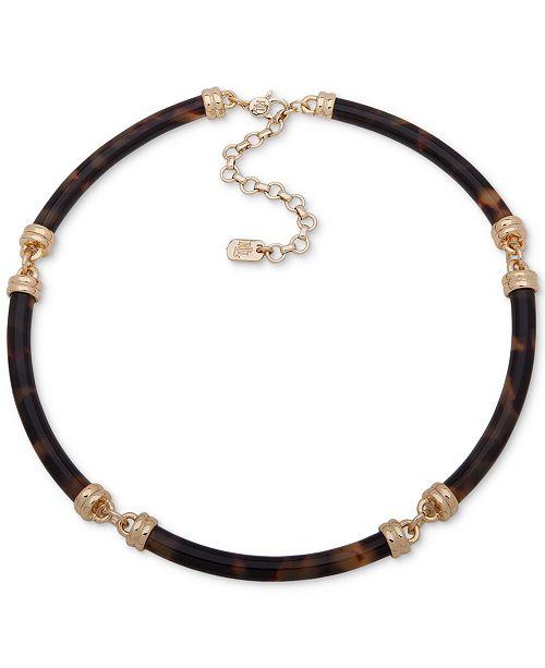 """Lauren Ralph Lauren Gold-Tone Tortoise-Look Segment Collar Necklace, 16"""" + 3"""" extender"""