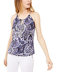 INC Petite Printed Embellished Halter Top, Created For Macy's