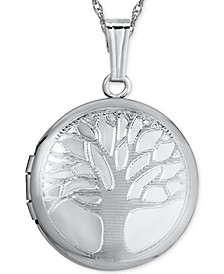 """Double-Frame Tree Locket 18"""" Pendant Necklace in Sterling Silver"""