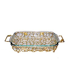 Rectangular Gold-Tone Handled Pyrex Holder with Leaf Design