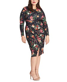 Trendy Plus Size Floral Print Bodycon Midi Dress