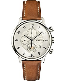 Men's Swiss Chronograph Re-Balance T-1 Brown Leather Strap Watch 42mm