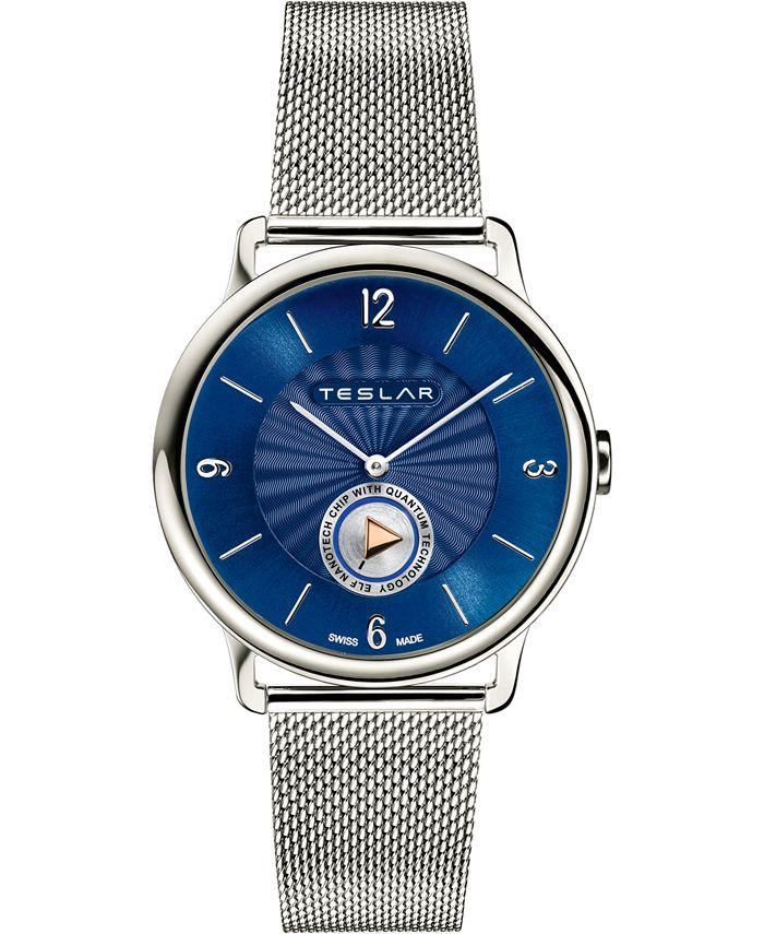 Teslar - Men's Swiss Re-Balance T-1 Stainless Steel Stainless Steel Mesh Bracelet Watch 40mm