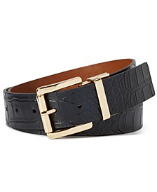 Reversible Croc-Embossed Leather Belt