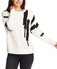 Contrast Poodle-Trim Sweater
