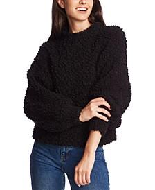Mock-Neck Poodle-Textured Sweater
