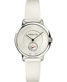 Women's Swiss Re-Balance T-1 Diamond (ct. t.w.) White Leather Strap Watch 36mm