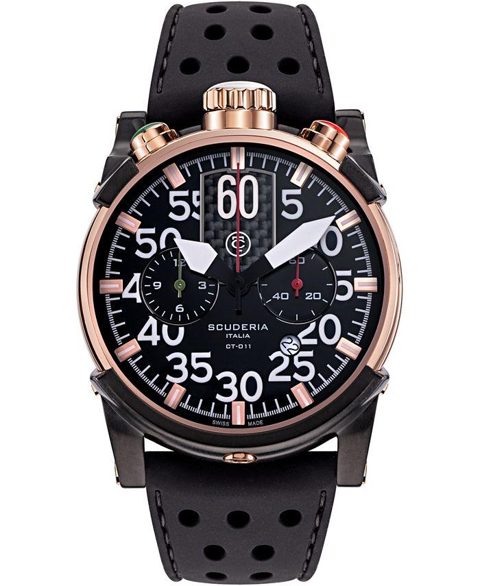 CT Scuderia - Men's Swiss Chronograph Saturno Black Leather Strap Watch 44mm