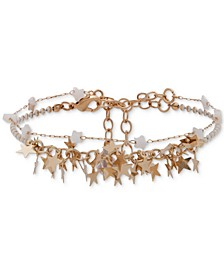 Gold-Tone Star Beaded Double-Row Ankle Bracelet