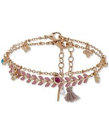 Gold-Tone 2-Pc. Set Crystal & Imitation Pearl Flower Ankle Bracelets