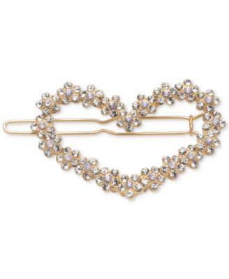 Gold-Tone Crystal Heart Barrette