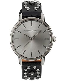 Women's BFFL Black Studded Leather Strap Watch 36mm