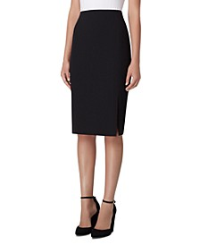 Front-Slit Crepe Pencil Skirt