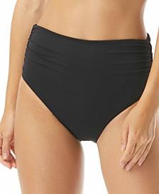 Ruched High-Waist Convertible Tummy Control Bikini Bottoms