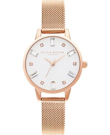 Women's Rose Gold-Tone Stainless Steel Mesh Bracelet Watch 30mm