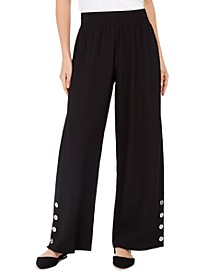 Button-Trim Wide-Leg Pull-On Pants, Created For Macy's
