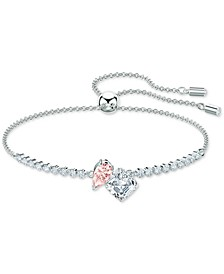 Silver-Tone Double Crystal Slider Bracelet