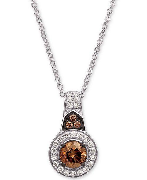 "Le Vian Chocolatier® Diamond Halo 18"" Pendant Necklace (5/8 ct. t.w.) in 14k White Gold"