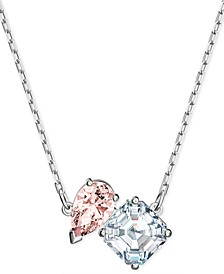 "Silver-Tone Double Crystal Pendant Necklace, 14-7/8"" + 2"" extender"