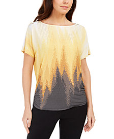JM Collection Printed Dolman-Sleeve Grommet Top, Created for Macy's