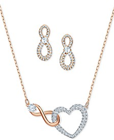 Two-Tone Crystal Heart & Infinity Symbol Pendant Necklace and Stud Earrings Set