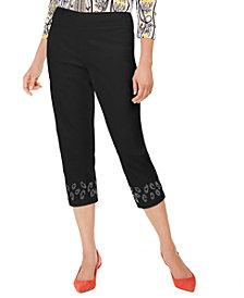 JM Collection Embellished-Hem Capri Pants, Created for Macy's