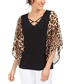 Printed Sheer-Sleeve Hardware Top, Created For Macy's