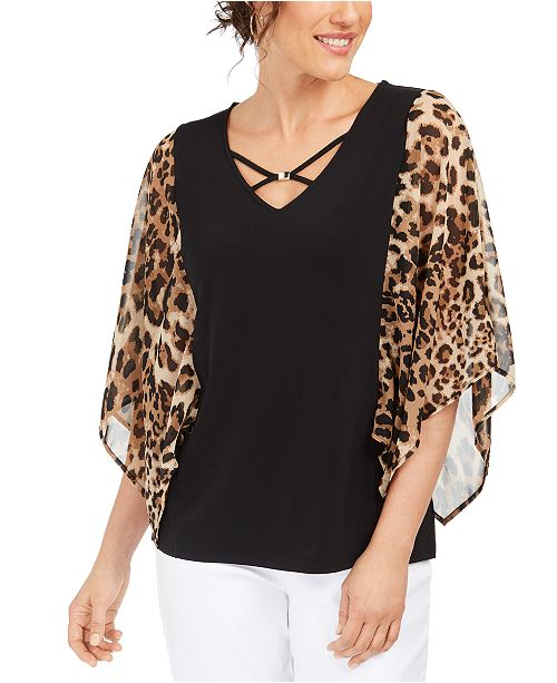 JM Collection Printed Sheer-Sleeve Hardware Top, Created For Macy's