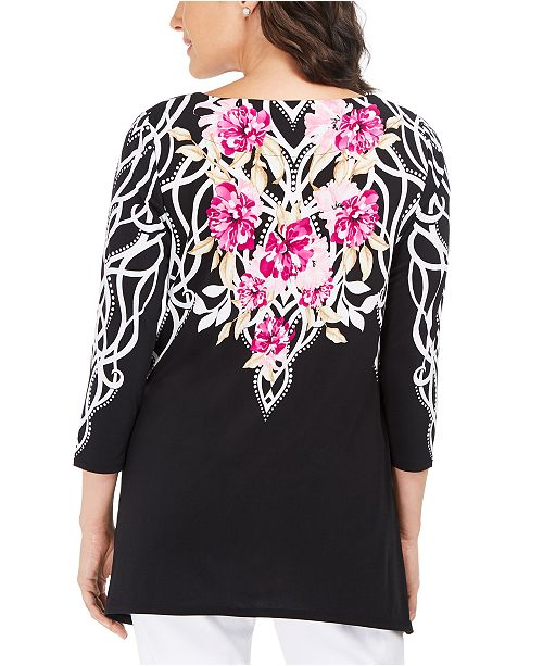 Style & Co. Plus Size Printed Handkerchief-hem Top, Created For Macys in Blue - Lyst