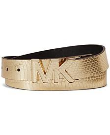 Metallic Snake Logo-Buckle Belt