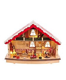 13.38-Inch Battery-Operated Musical Village LED House