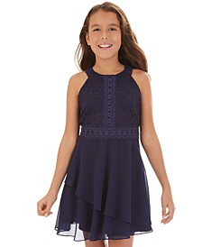 Big Girls Lace & Layered Chiffon Dress