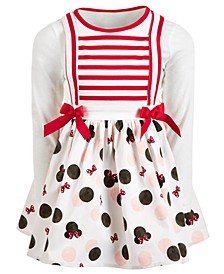 Little Girls Striped Minnie Mouse Dress