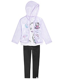 Little Girls 3-Pc. Cosmic Kitty Jacket, T-Shirt & Leggings Set