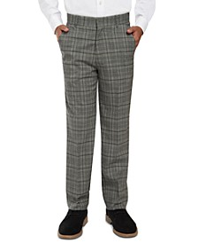 Big Boys Stretch Windowpane Plaid Suit Pants