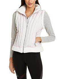 Fleece-Trimmed Quilted Vest