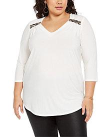 NY Collection Plus Size Embellished-Shoulder Top