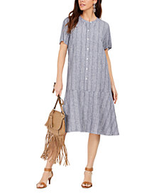 Style & Co Striped Button-Front Linen-Blend A-Line Dress, Created for Macy's