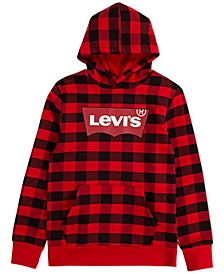 Big Boys Buffalo Plaid Fleece Batwing Logo Hoodie