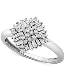 Diamond Baguette Cluster Statement Ring (1/3 ct. t.w.) in 10k White Gold