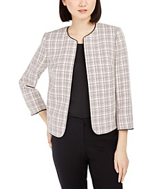 Piping-Trim Plaid Jacket