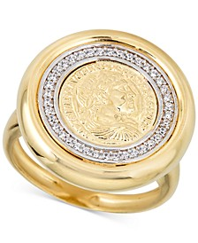 Diamond Coin Statement Ring (1/4 ct. t.w.) in 18k Gold-Plated Sterling Silver