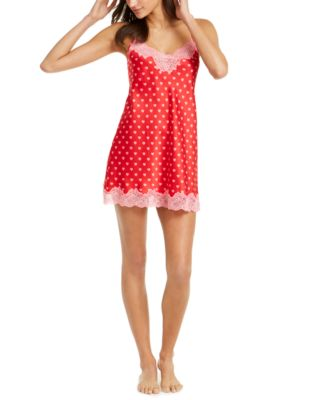 INC Lace-Trim Printed Chemise Nightgown, Created for Macy's