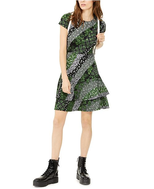 Michael Kors Petite Mixed Print Ruffle Dress, , Regular & Petite